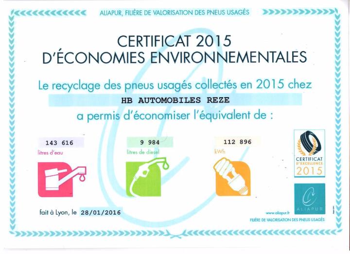 Certificat 2015 d'économies environnementales